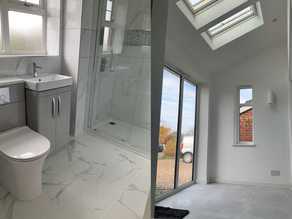 extension inside bathroom and entrance hall