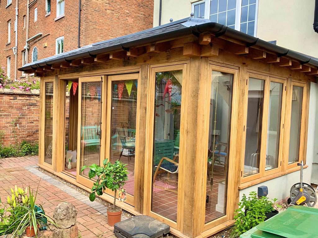 orangery, patio and lawn